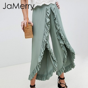 Image 3 - JaMerry 2019 винтажные расклешенные брюки с оборками Женские Асимметричные с высокой талией однотонные повседневные Модные брюки ретро широкие женские брюки