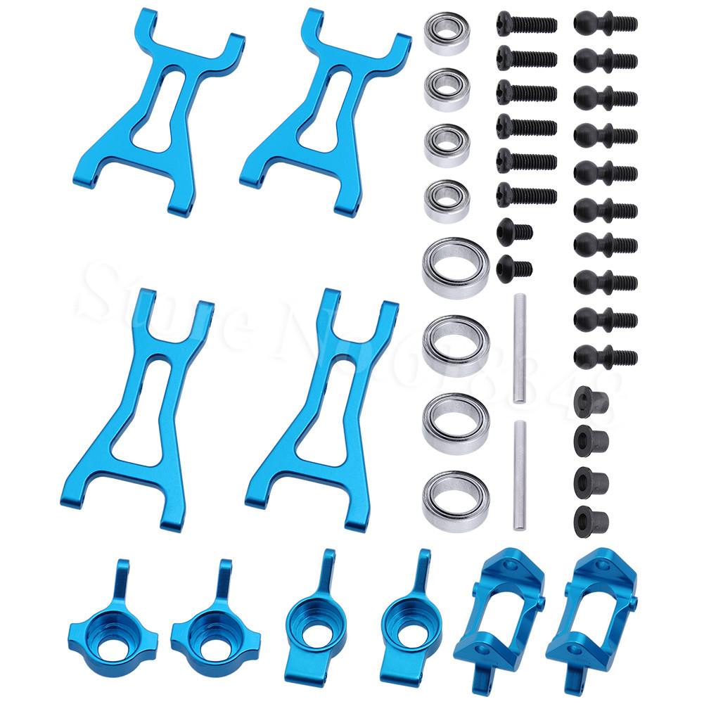 Aluminum Steering Knuckle Hub Kit Lower Susp Arm Ball Bearing For RC Wltoys A979 1/18 Off Road Monster Truck Upgrade Parts 1 5 1 6 traxxas x maxx steering hub steering knuckle blocks set for rc car 7737 7740 7743 brushless electric monster truck