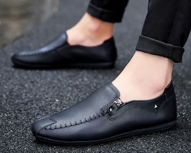 5be6e805cd6 Men Black Loafer Shoes Trendy Leather Slip-on Loafers Vintage Style Men  Driving Casual Blue