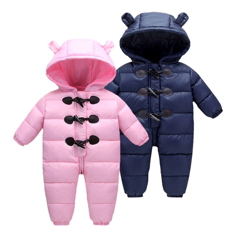 2018 New Winter Baby Boys Girls Warm Rompers Newborn Baby 90% White Dusck Down Hoodie Clothes Infant Outwear Jumpsuit Snowsuit free shipping winter newborn infant baby clothes baby boys girls thick warm cartoon animal hoodie rompers jumpsuit outfit yl