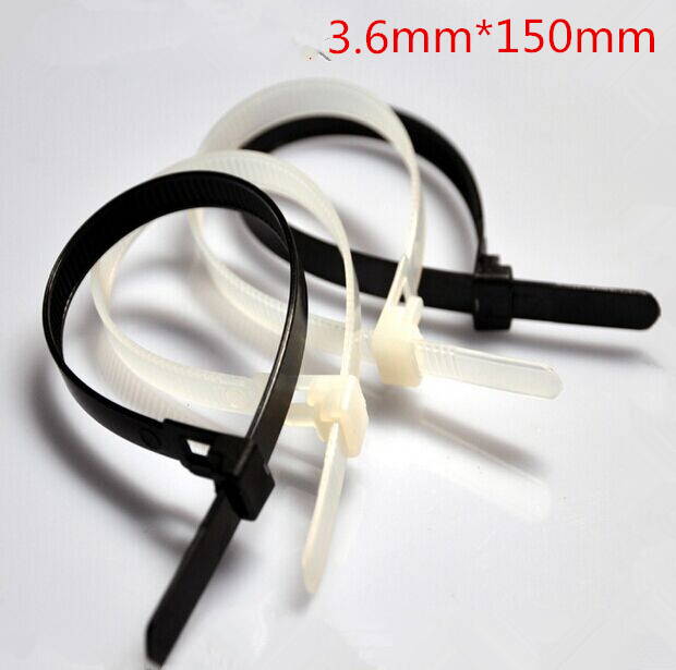 Free Shipping New 2014 High quality 100 pcs/lot 3.6x150mm Releasable Plastic Nylon Cable Tie Zip Ties Black
