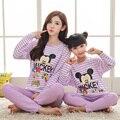 Семьи соответствия пижамы Весна Осень Зима Новый Мать и Дочь С Длинным рукавом 100% Чистого Хлопка Прекрасная Принцесса пижамы Костюм