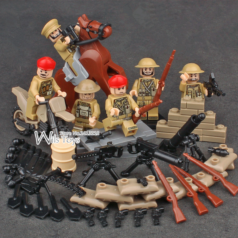 6pcs British Army WORLD WAR 2 Military Soldier Weapon Gun SWAT Building Blocks Bricks Figure Boy Educational Toys Gifts Children xinlexin 317p 4in1 military boys blocks soldier war weapon cannon dog bricks building blocks sets swat classic toys for children