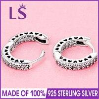 עגילי LS womenHearts של עגילים, נקה CZ joyas de plata 925 N
