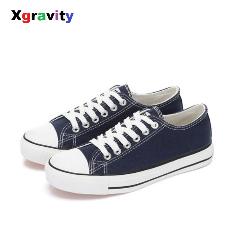Xgravity Hot Flats Spring Autumn Comfortable Canvas Shoes Female Shoes Casual Flat Woman Shoes Solid Colors
