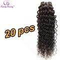 Vendas Com Desconto de grande Quantidade 20 Peça Macio Kinky Curly Dark Brown tecer 6A 20 pc Venda Todo Preço de Venda Tecer Marrom Escuro #2 cor