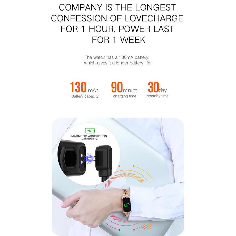 Reloj inteligente de las mujeres IP67 impermeable Monitor de ritmo cardíaco correa de Metal pulsera de Fitness para Android IOS teléfono regalo envío gratis