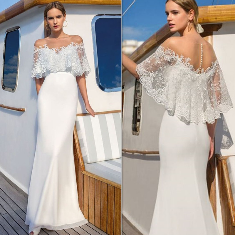 Soft Chiffon Scoop Neckline Lace Applique Mermaid Dress With Illusion Tulle Back Fake Two Pieces Sweep Train Bridal Dress