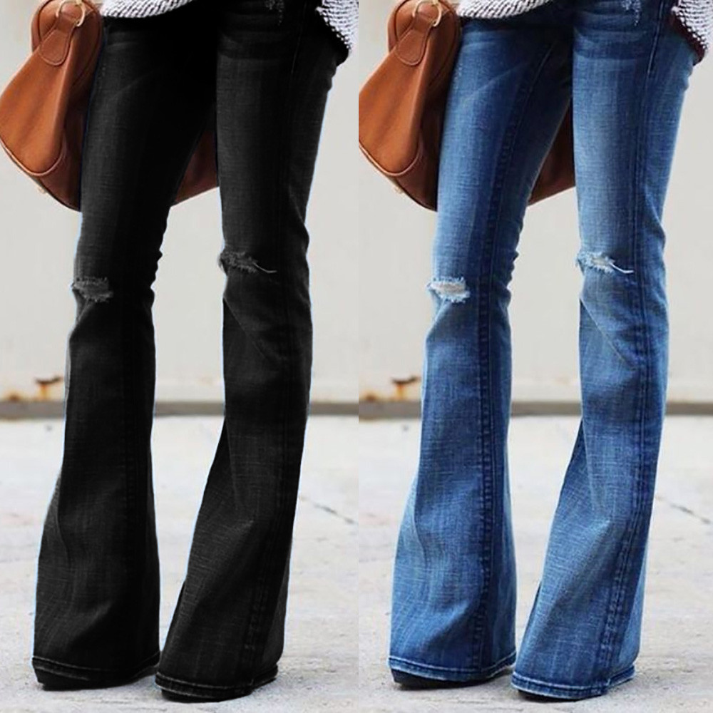 2019 Hot Black Blue Fashion Women   Jeans   Denim Hole Female Mid Waist Stretch Slim Flare   Jeans   cargo pants Hole Denim Casual