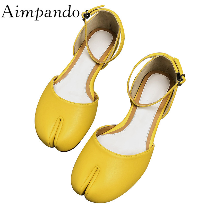 Individual Split Toe Mules Studded Buckle Side Cut Outs Shallow Flat Shoes Yellow Red Leather Shoes