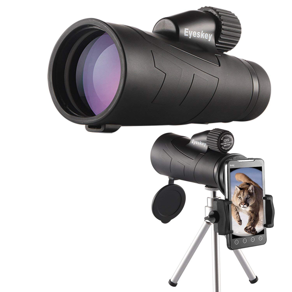 12x50 Monoculare Eyeskey Ottica Monoculare Impermeabile Qualità per la Caccia Telescopio Ad Alta Potenza Monoculare con BaK4 Prisma Ottica