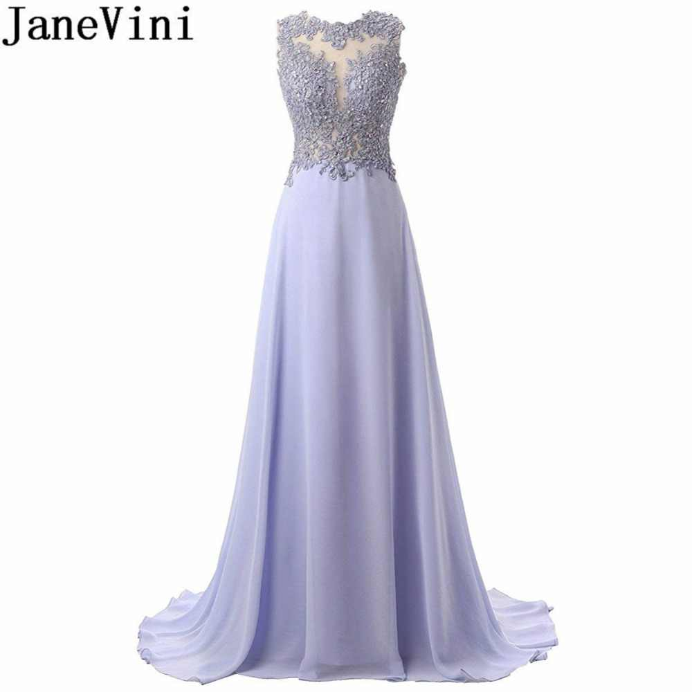 afcc6e7d50 JaneVini Lavender Long Bridesmaid Dresses With Lace Appliques Beaded  Chiffon Sleeveless Women Wedding Party Dress Maid Of Honor