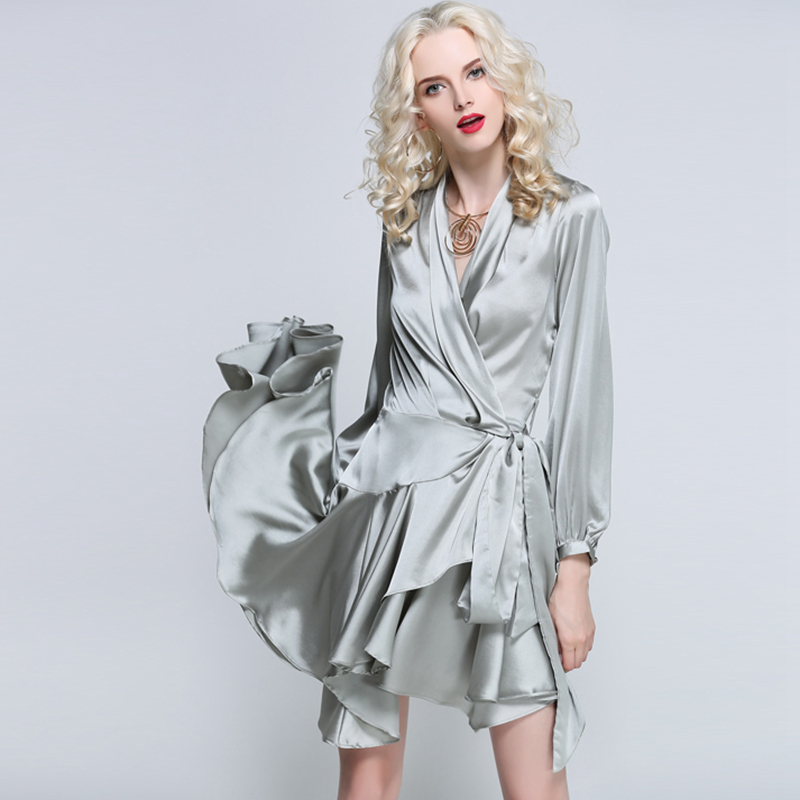 Waisted Satin Dresses Women Asymmetrical Design V Neck Lace Up Long Sleeve Women Sexy Casual Dress