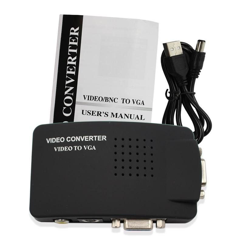 Wiistar PC Laptop RCA Composite Video TV S-Video AV In To PC VGA LCD Out Converter Adapter AV To VGA Switch Box Black