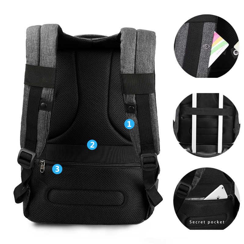Tigernu Pria Anti Pencurian Tas Ransel Laptop USB Komputer Ransel untuk Wanita Pria Bagpack Tas Sekolah untuk Remaja Muda Backbag