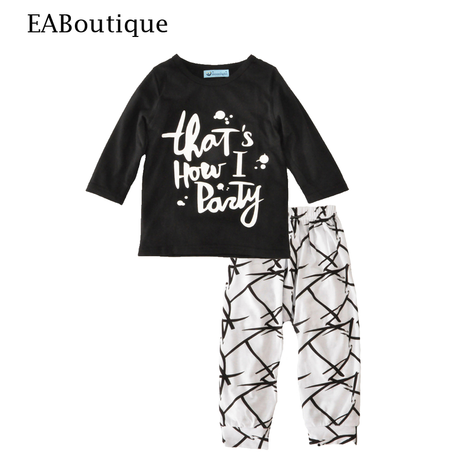 EABoutique New winter fashion letter printed long sleeve shirt with scrawl pants  baby boys clothes set