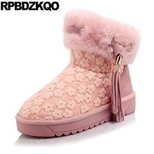 бахрома плоские розовый пушистый 10 каваи мех Размер 43 женщины вышивка кисточка Зимние снегоступы ботинки больших размеров цветок вышитый обувь замша ботильоны новый китайский мода 2017 короткая женская женский