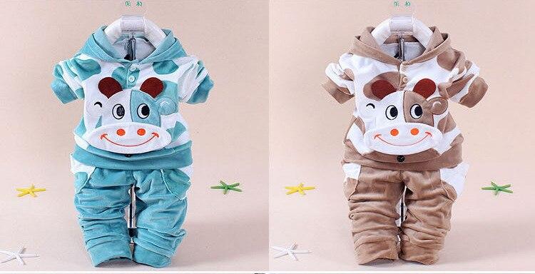 New 2016 Autumn Baby Kids Set Velvet Hello Kitty Cartoon T Shirt Hoodies Pant Twinset Long Sleeve Velour Children Clothing Sets