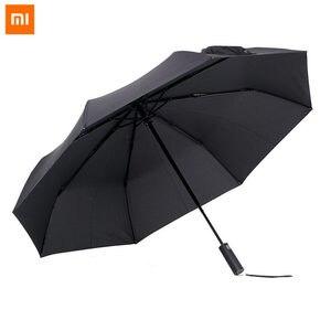 Image 1 - الأصلي شاومي Mijia التلقائي للطي مشمس المطر مظلة مظلة الألومنيوم يندبروف مقاوم للماء UV 50 + المظلة رجل امرأة