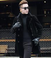 Осень Свободные искусственной норки кожаная куртка Мужские Зима утолщаются теплый двубортный меховой кожаная куртка Мужская повседневные