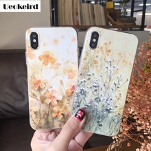 Very Beautiful Painting 3D Flower For Apple iphne X Case Soft TPU High Penetrat For Apple iphne 8 Case 8 Plus Phone Cover
