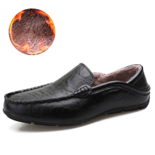 цены Winter leather driving shoes men warm loafers for cold weather low cut mocassins slip on Casual sneakers flats big size 37-47