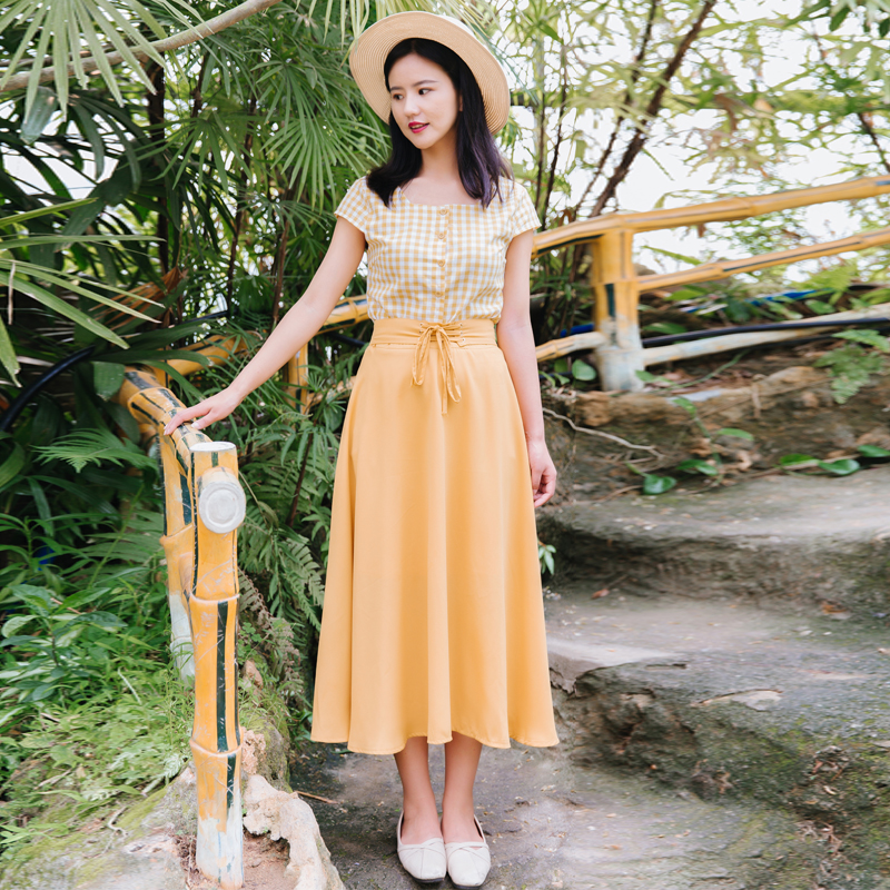 Chic Fashion Two-piece Casual Suits Female Summer 2018 Women Yellow Red Plaid T Shirt A Line Skirt Sets Retro Midi Skirt Suits 5