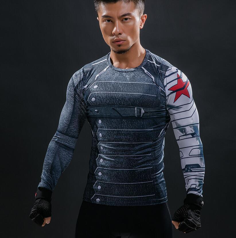 Brand T Shirt Men 3D Printed Winter Soldier Marvel Comics T-Shirt Compression TShirt Men ...
