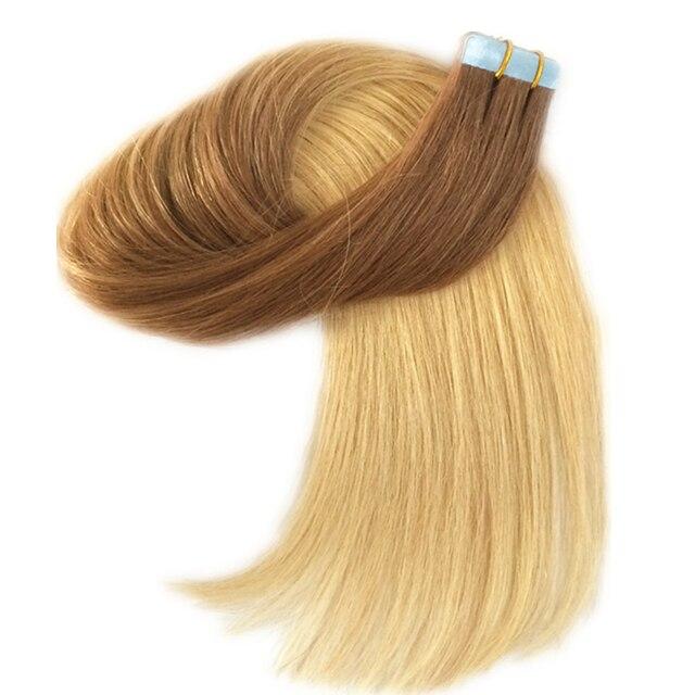 Real Remy Natural Human Hair Skin Weft Dark Brown To Golden Blonde