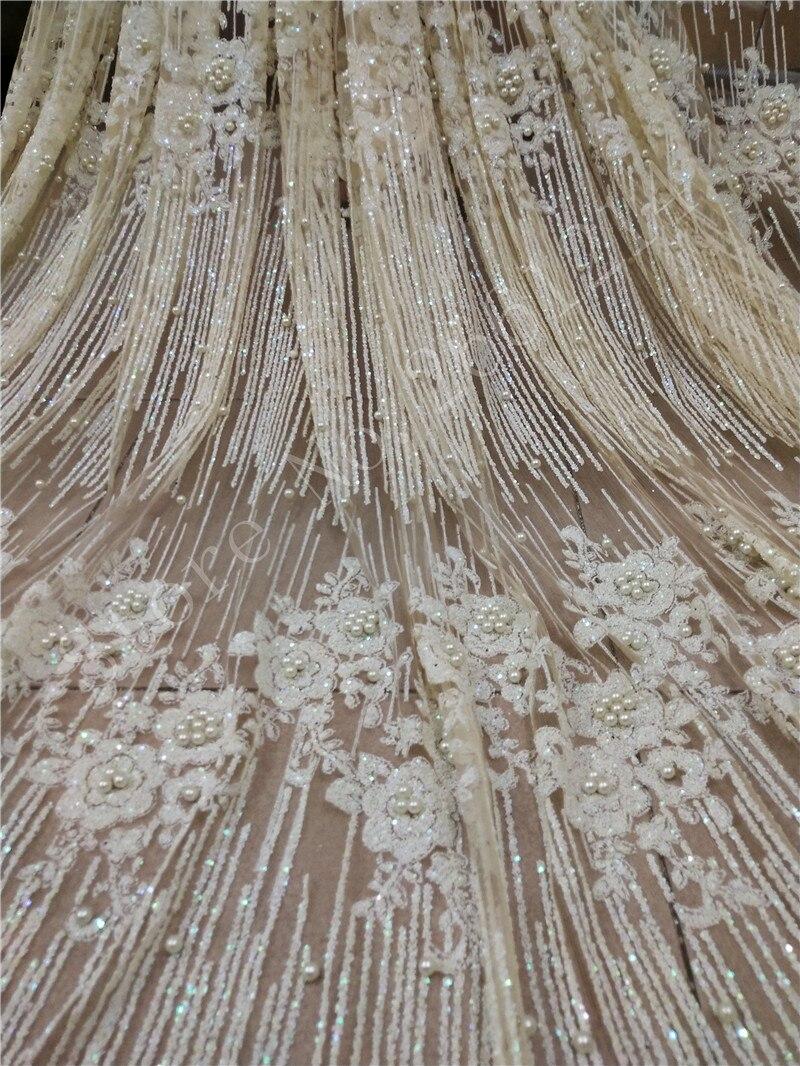 Ev ve Bahçe'ten Kumaş'de Yapıştırılmış glitter tül örgü kumaş yapıştırılmış glitter sequins dantel kumaş BZL 91107 parti elbise için boncuk ile krem beyaz renk'da  Grup 1