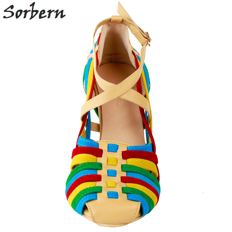 47 2018 Chaussures Parti Chine Sorbern Grand Plus Sangle Automne La Coloré Pompes Femmes Colorful 34 Taille Boucle xwq168P