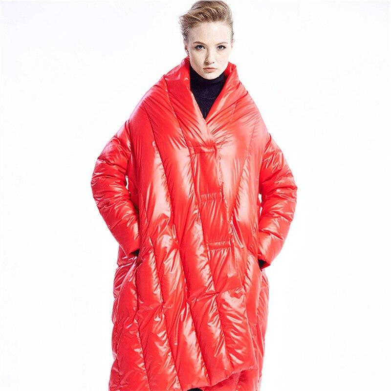 Fashion 2016 Winter Jacket Women Down jackets stand collar cloak medium-long Women's down coat thicken loose overcoat outerwear kelme k15p010 men outdoor winter medium long stand collar hooded zipper down jacket navy red