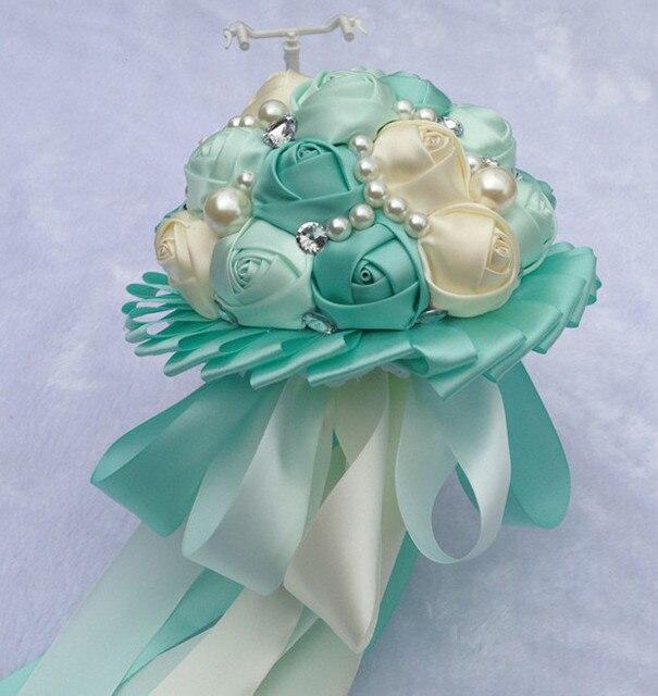 handmade tiffany blue rose bouquets wedding bride and bridesmaid ...