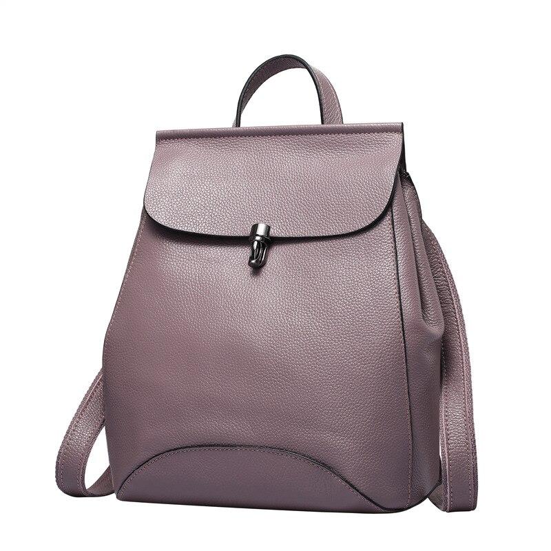 Genuine Leather Backpacks Women Korean Style Fashion Rucksacks School Backpack For Girls Travel Bags Ladies Backpack #Q0774 цена