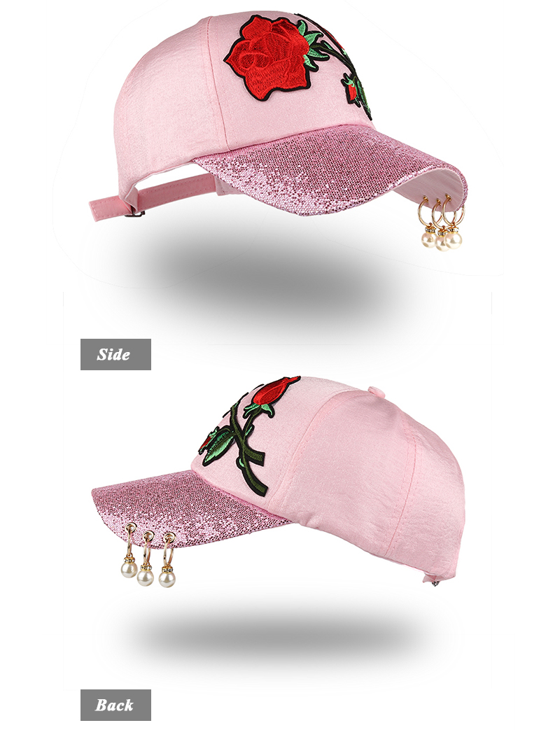 Embroidered Rose Baseball Cap - Front Angle and Side Views