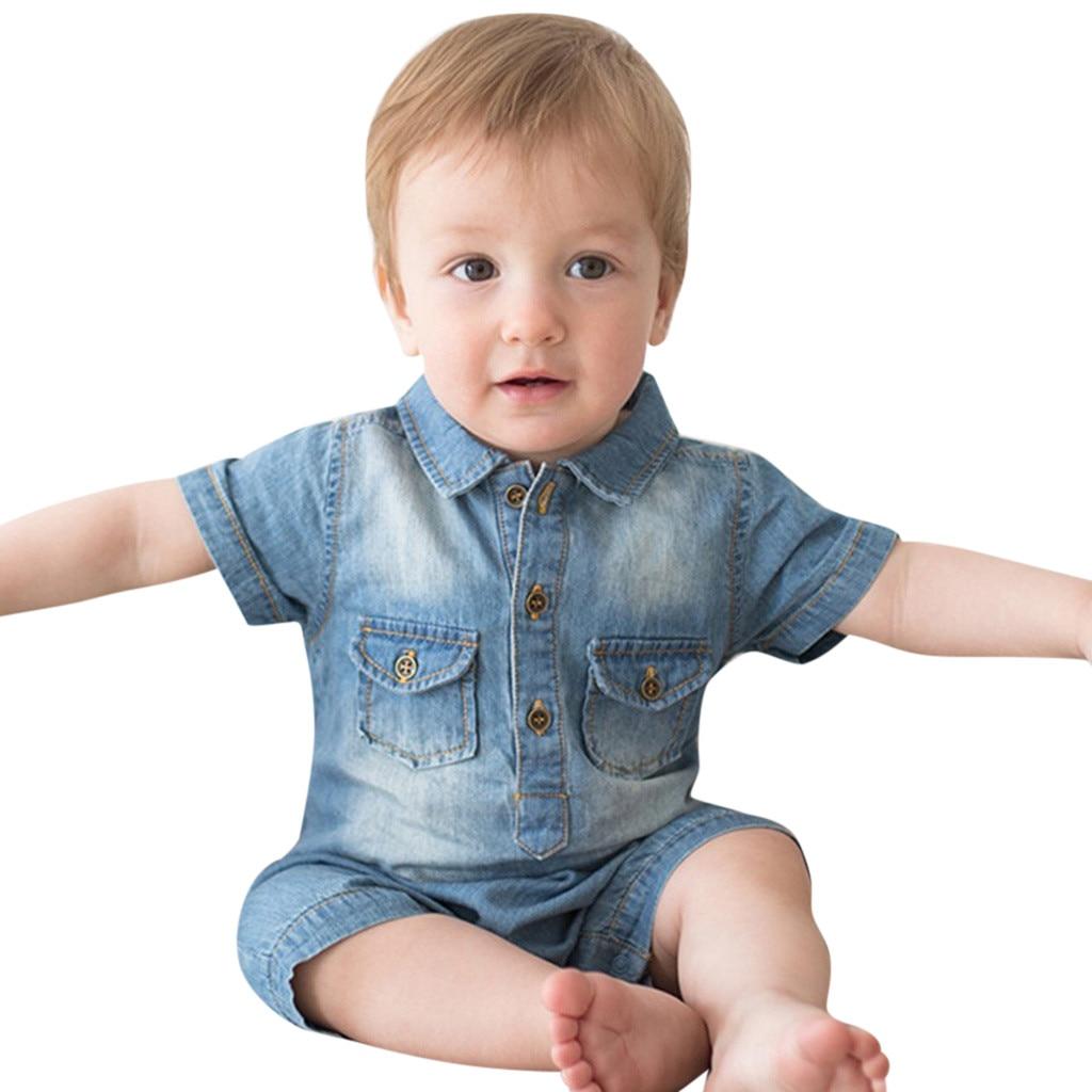Deskundig Babykleertjes Pasgeboren Kids Baby Jongens Meisjes Outfits Kleding Korte Mouw Denim Romper Bodysuit Zomer Slijtage 2019 Nieuwe Mode Leuke