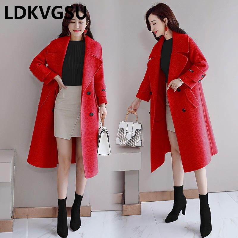 coréen Taille 2018 Veste red Femelle Double Nouvelle Solide Grande Beige Manteau Tempérament Laine De breasted pink Is1481 Automne Hiver Long Couleur RIZq8aW