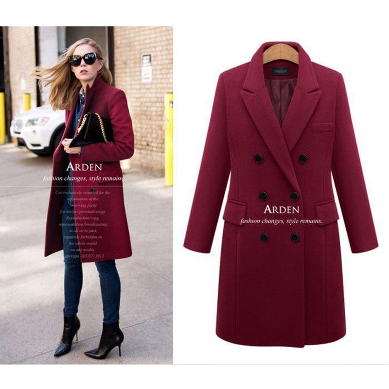 Autumn Winter Coat Women 19 Casual Wool Solid Jackets Blazers Female Elegant Double Breasted Long Coat Ladies Plus Size 5XL 5