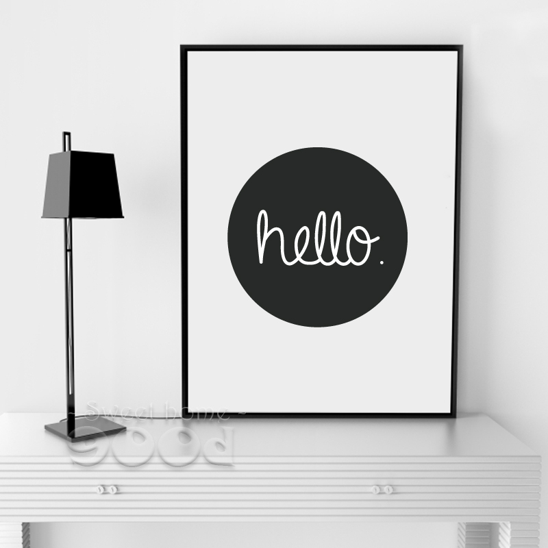 Cartoon Hello Quote Canvas Art Print, Wall Pictures for Home ...