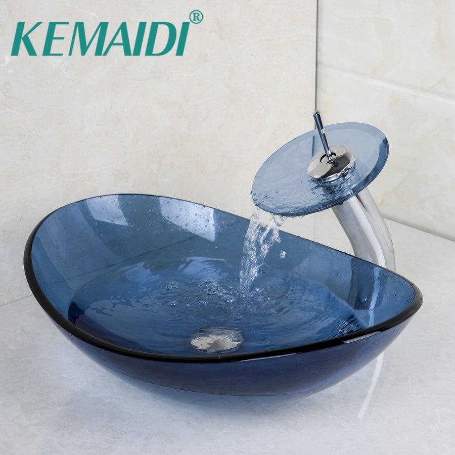 KEMAIDI Blue Oval Washroom Basin Temper Glass Vessel Vanity Sink Bathroom Mixer Basin Washbasin Brass Faucet Set w/ Drain