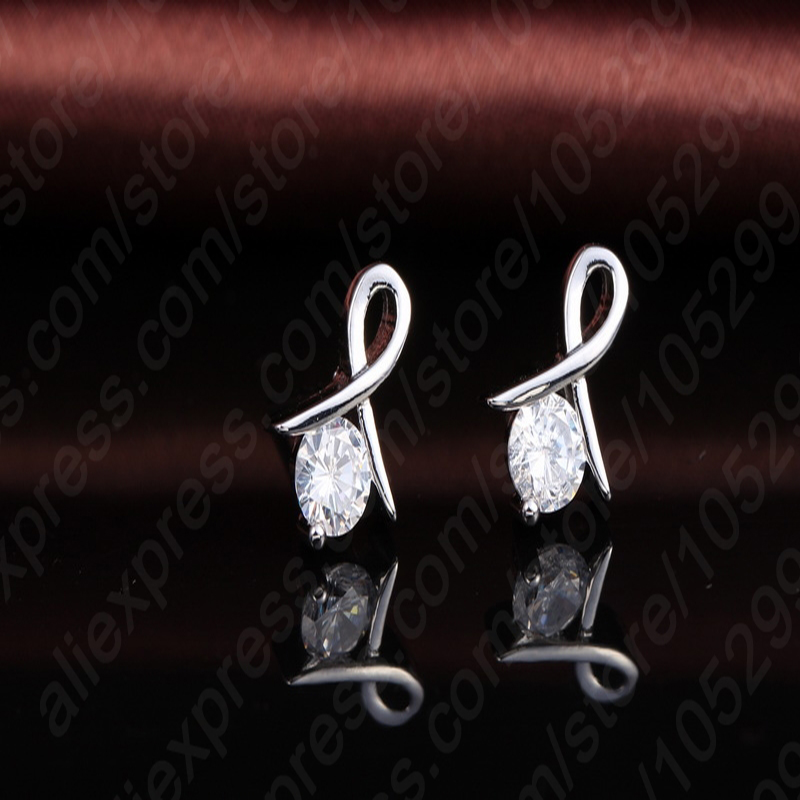 Women 925 Sterling Silver Fashion Necklace Earrings Jewelry Set For Wedding Party Cubic Zircon Cartilage Piercing Earrings 3
