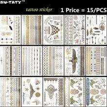 Nu-Taty 15PCS 금 공작 임시 3D 메이크업 문신 Henna Tatuagem 바디 아트 Tatoo Flash Tatto 스티커 수영복 메이크업 도구