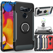 Dual Layer Shockproof Hybrid Armor Case With Ring Stand Magnetic Suction Bracket Car Holder Cover For LG G7 V40