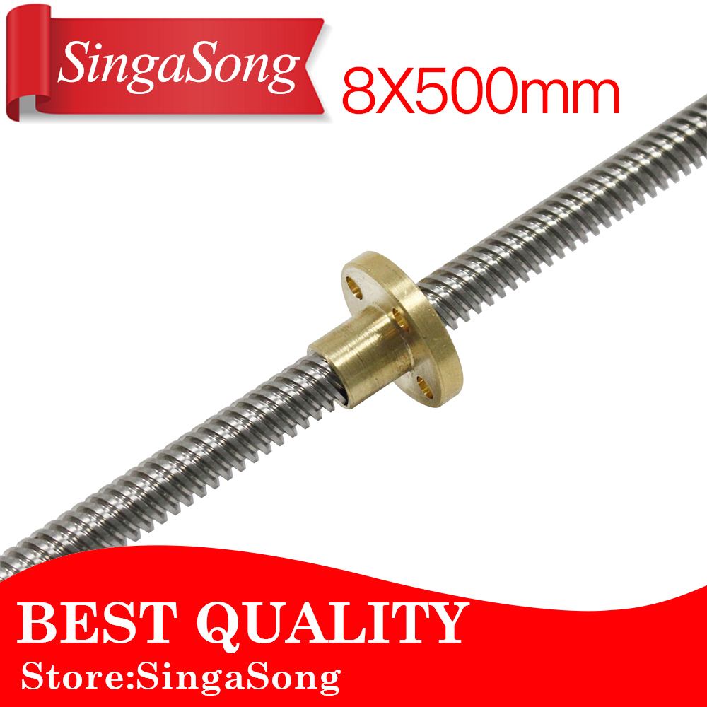 3d printer 8x500mm Lead Screw Rod T Shape Linear Rail Bar Shaft Nut 8mm Lead Stainless Steel Lead Screw For D Printer Z Axis 3d printer 8x500mm lead screw rod t shape linear rail bar shaft nut 8mm lead stainless steel lead screw for d printer z axis