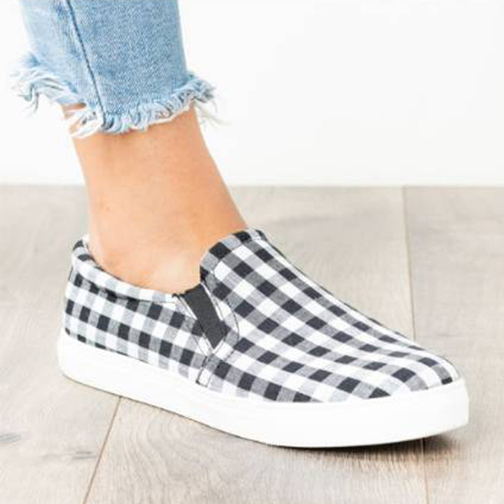 Vulcanize Shoes Loafers Canvas Comfortable Fashion Women's Woman Ladies Casual Flat Large-Size