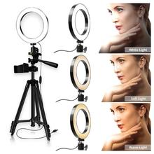 LED Selfie Ring Light 3200 5600K Studio Photography Photo Fill Ring Light with Tripod for iphone Smartphone Makeup Diameter 26cm