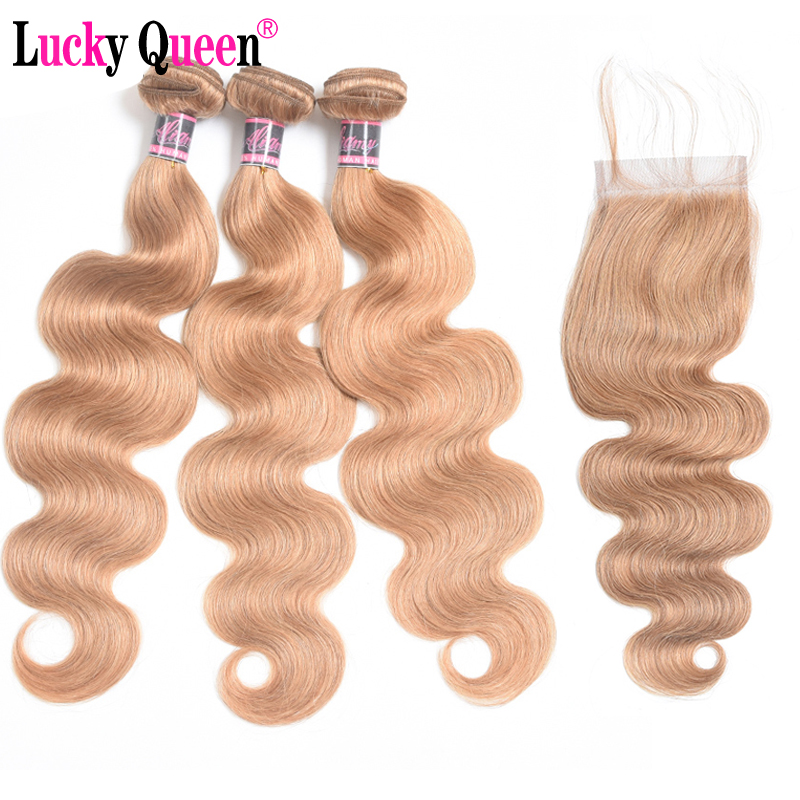 Brazilian Body Wave Bundles with Closure 27 Honey Blonde Human Hair Bundle with Closure Remy Hair