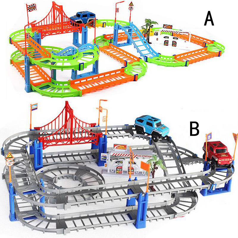 New DIY childrens toys creative track car assembly electric speed track puzzle car kids gift toys