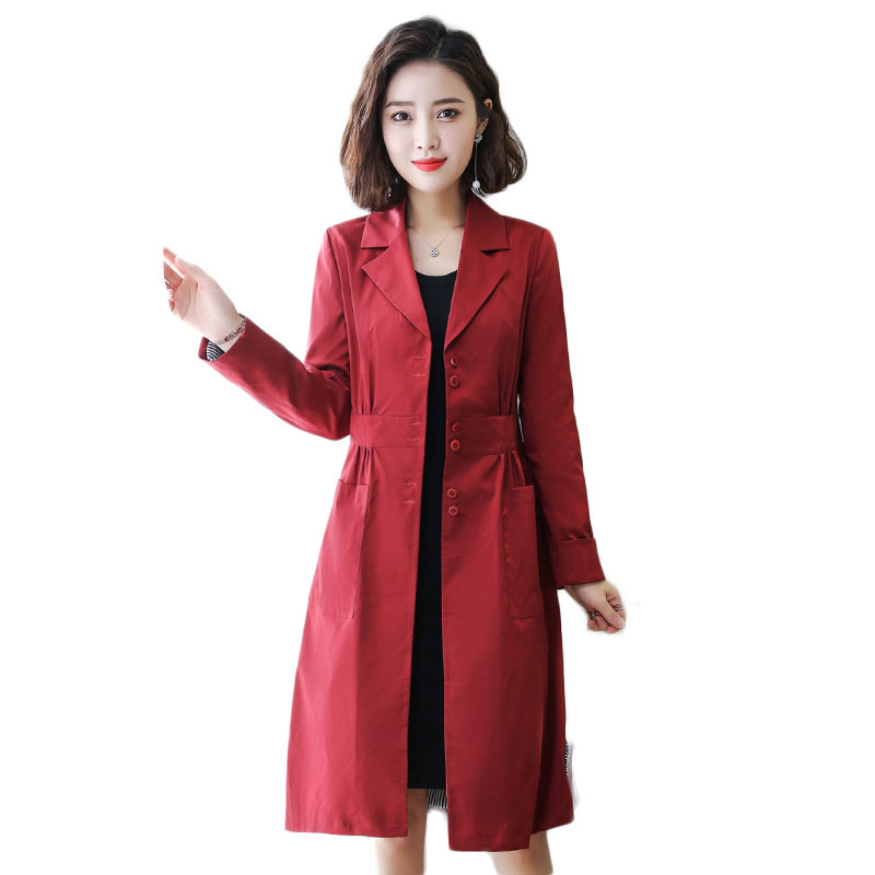 2019 Spring Autumn Female 1PC   Trench   Coat Women Single Breasted Slim Fit Long Coat Casaco Feminino Abrigos Mujer Outerwear M220
