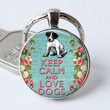 Keep Calm and Love Dogs Key Rings Glass Keychains Inspirational Quote Jewelry Gift for Men for Women(China)